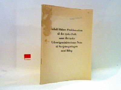 Adolf Hitlers Proklamation til det tyske folk samt det tyske